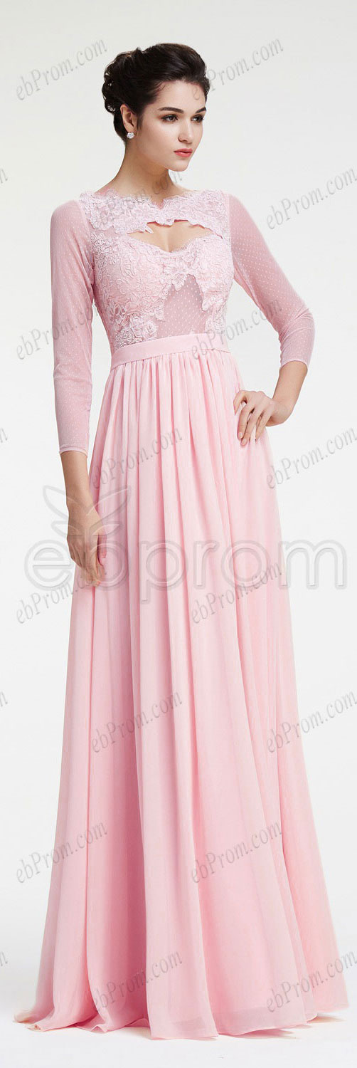 Light pink long sleeves prom dresses | Pink, Products and Pink ...