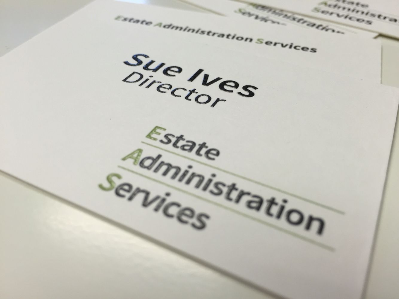 Thermographic & lithographic business cards for EAS in Thrapston ...