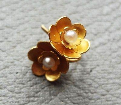 Antique Victorian 15ct Gold Pearl Earrings Little Rose Flower Drop Earrings