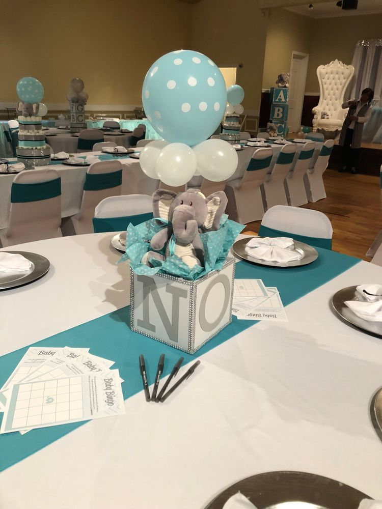 Elephant Baby Shower With Images Boy Baby Shower Centerpieces