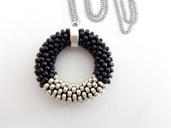 Circle Necklace // Long Pendant Necklace // Crochet Rope Necklace ...