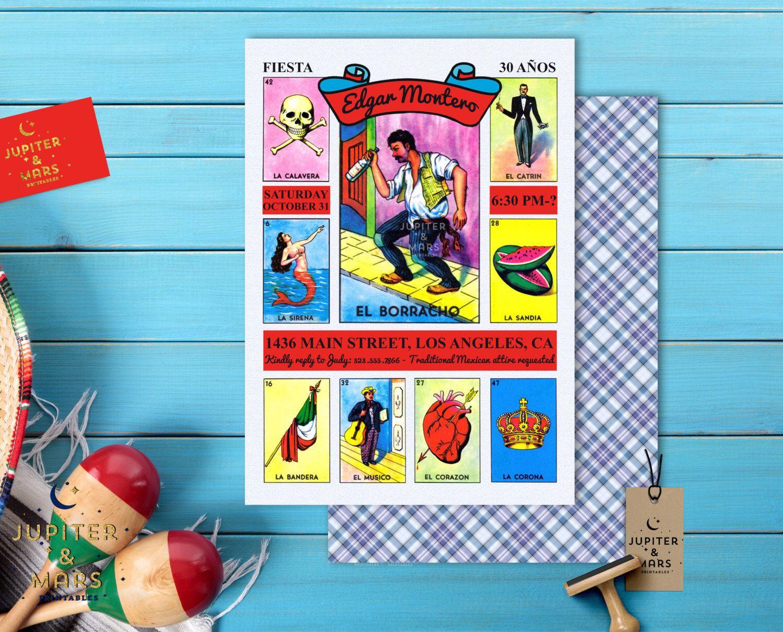 traditional la loteria mexicana el borracho birthday fiesta