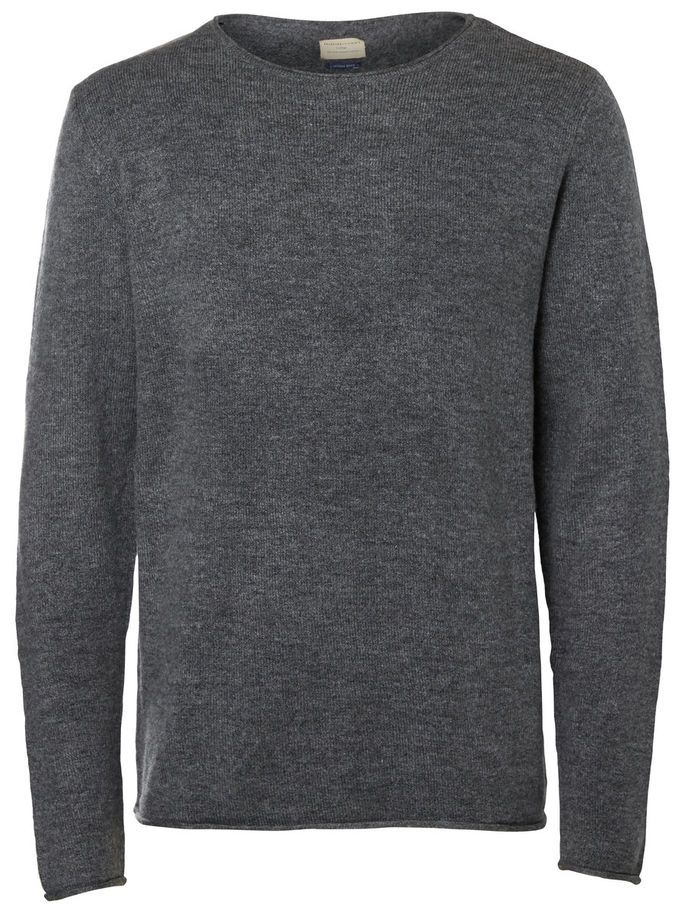 CREW NECK - STRIKKET PULLOVER, Medium Grey Melange, large