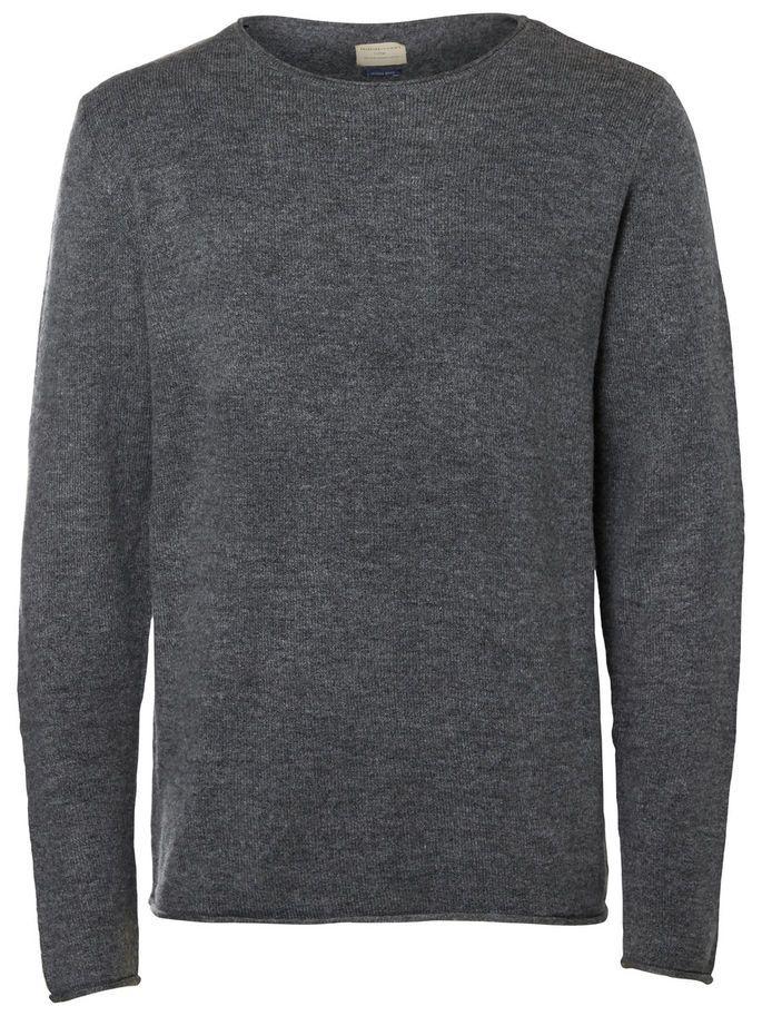 CREW NECK - STRIKKET PULLOVER, Medium Grey Melange, large