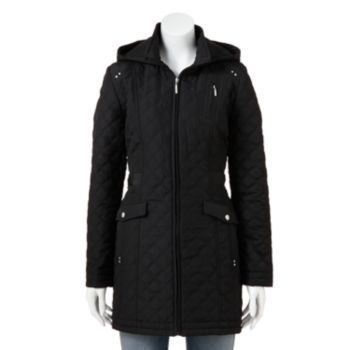 Weathercast Hooded Quilted Walker Coat - Women's