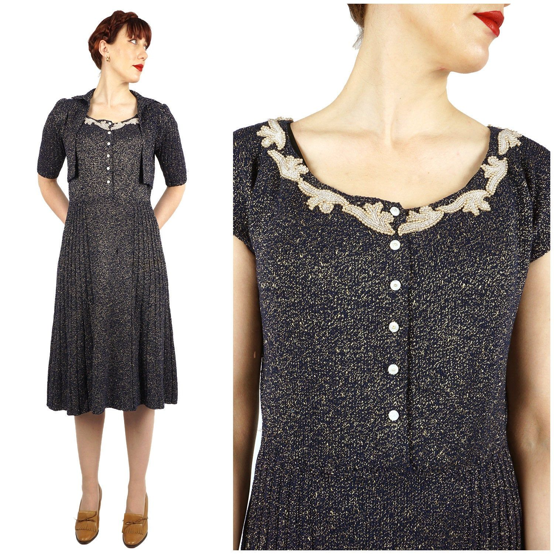 Vintage 1950s Navy Blue /& Gold Knit Dress and Matching Cardigan Shrug Set with Beading at Neckline Medium