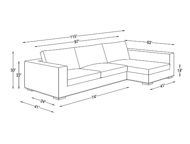 Standard Couch Length In 2020 Modern Sofa Sectional Fabric