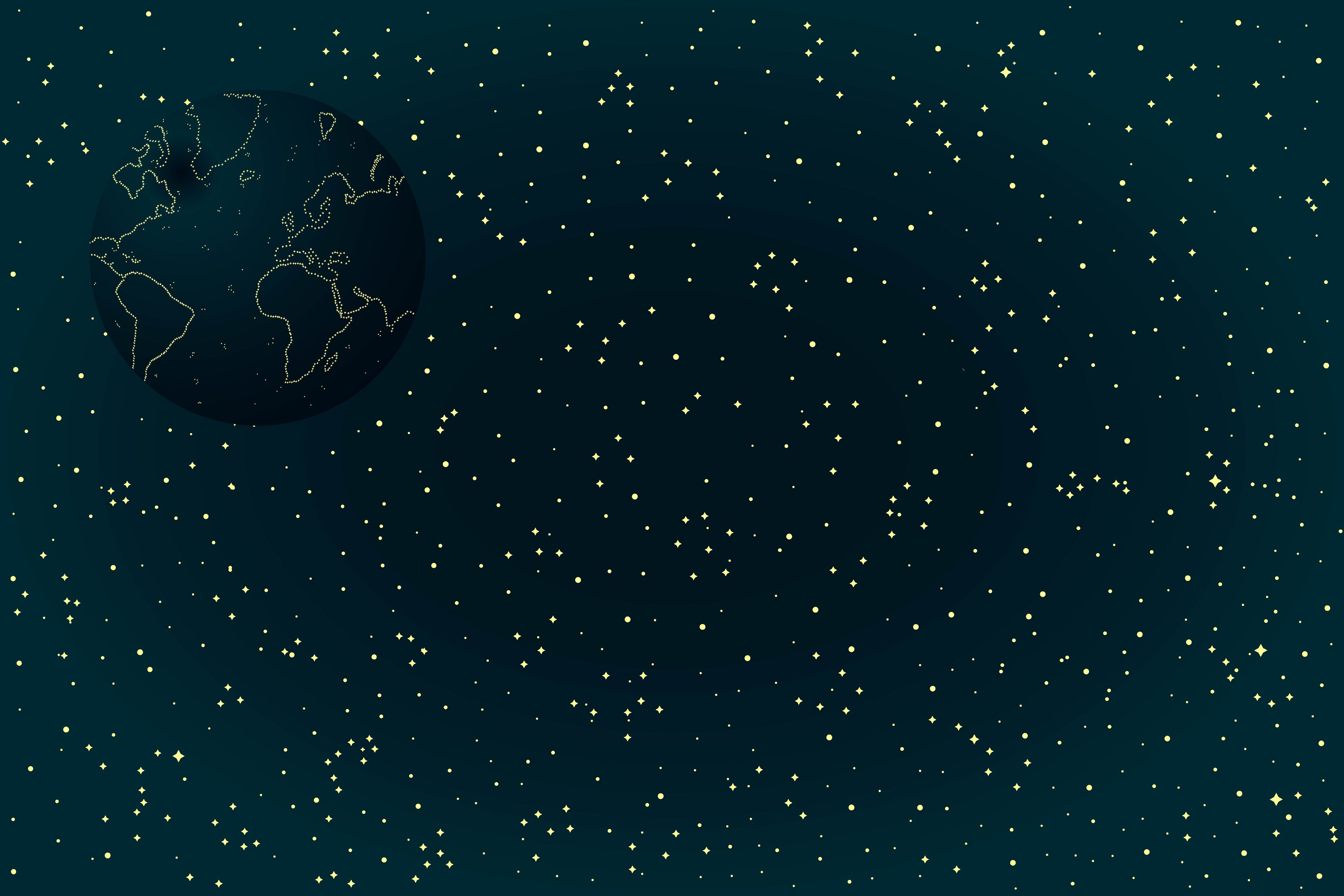 Sky Map of Hemisphere  Constellations on Night Dark Background | Sky