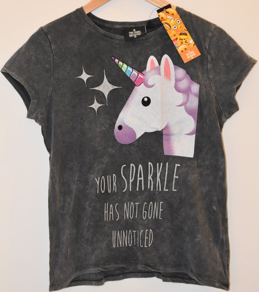 b266988c Primark unicorn t shirt sparkle uk sizes 6 - 20 emoji emojicon ...