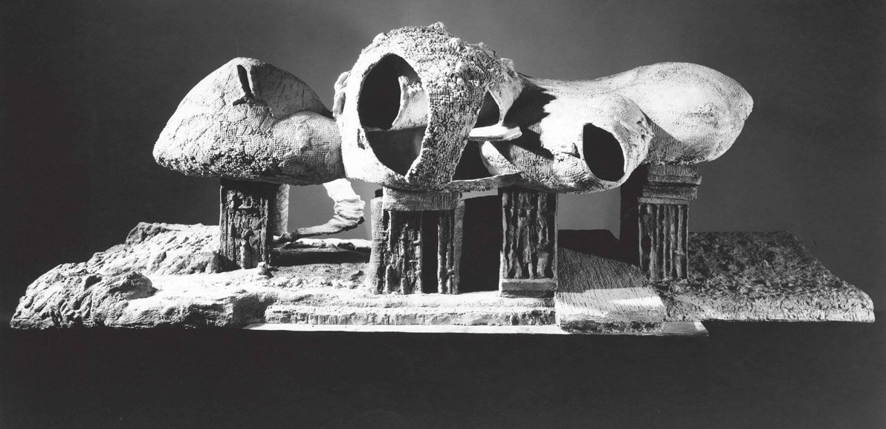 Frederick Kiesler, Endless House, project, 1950–60. Exterior view of the model, 1958. Gelatin silver print, 5.4 x 20.3 cm. The Museum of Modern Art, New York. Department of Architecture and Design Study Center. Photograph: George Barrows