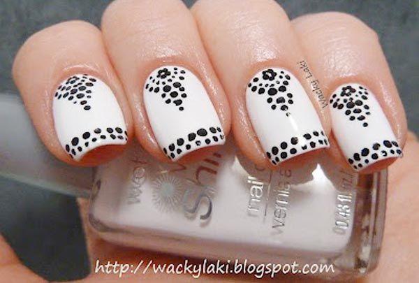 Black Dots Flowers On White Nails Nail Art Pinterest White