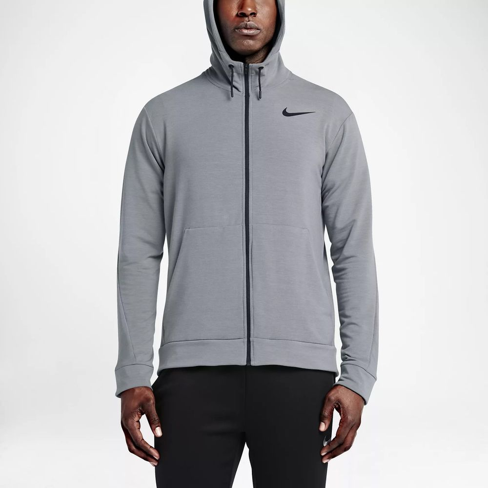 a0e660876f Details about Nike Mens Dri-Fit Hoodie Sweatshirt Dark Gray Athletic ...
