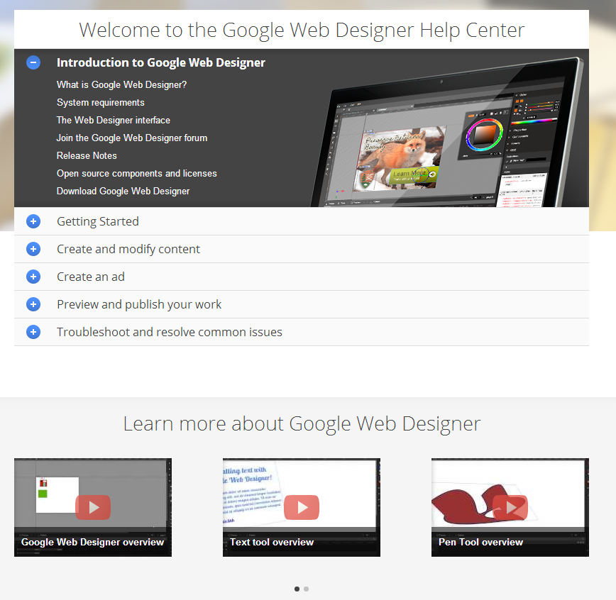 Google Web Designed Help Center Getting Started Create And Modify Content Create An Ad Preview And Pub Web Design Help Google Web Designer Web Design
