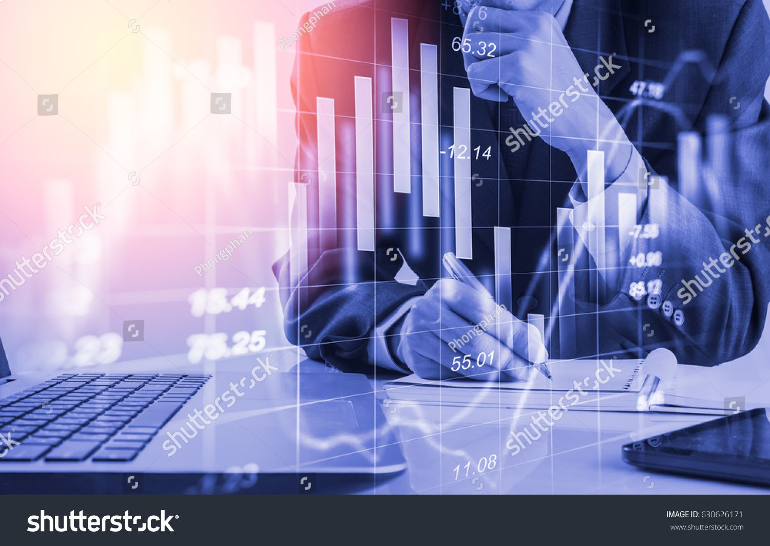 Double Exposure Businessman And Stock Market Or Forex Graph