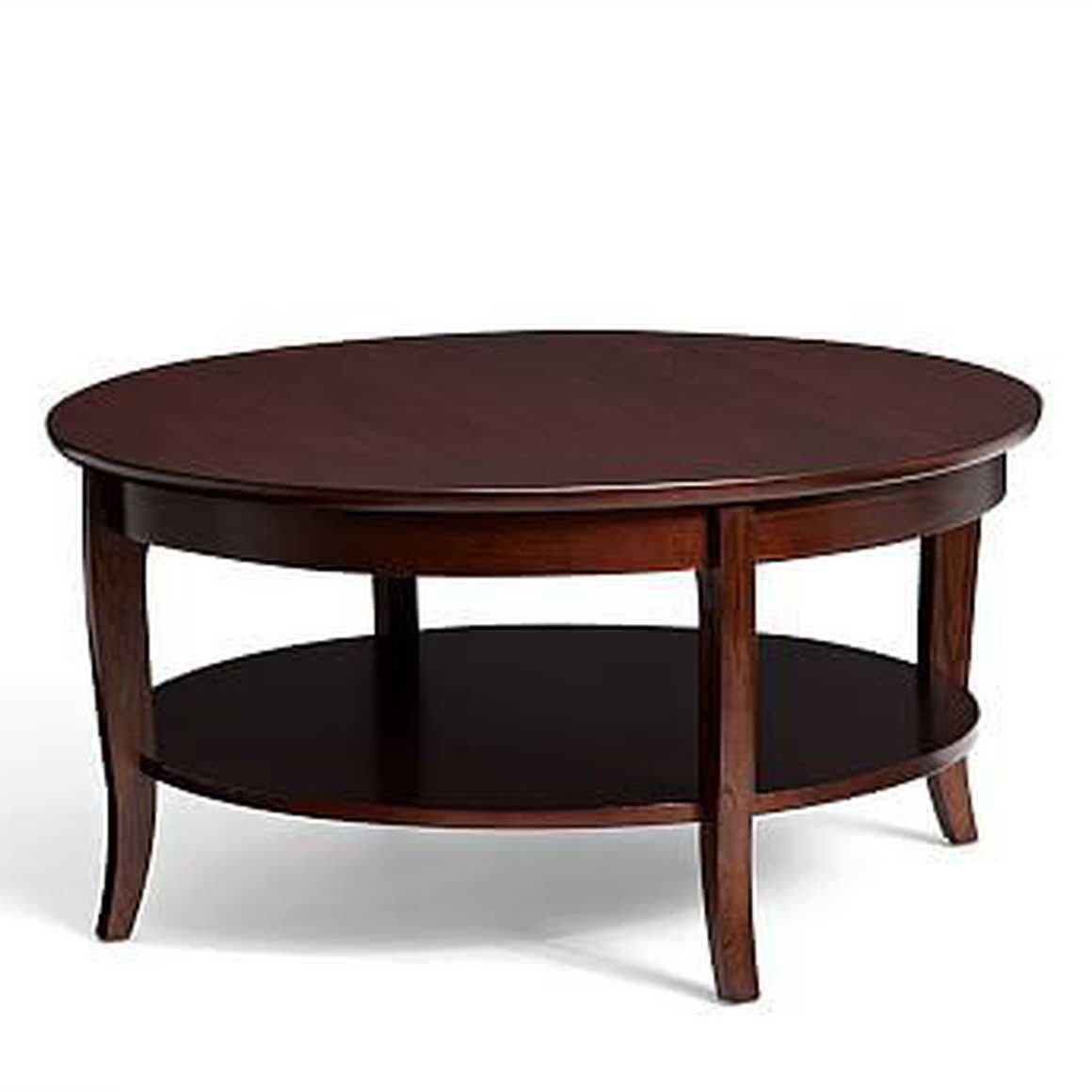 Chloe Round Coffee Table Mahogany Stain Pottery Barn Coffee Table Pottery Barn Coffee Table Round Coffee Table [ 1160 x 1160 Pixel ]