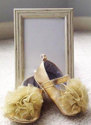 Gold Ballet Shoes w/ Gold Tulle Flower – IttieBittieBaby