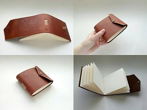 Malý kožený notes / handmade / bookbinding / leather / notepad / notebook / brown