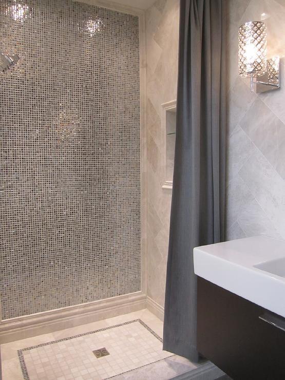 Glass Tile Shower Transitional Bathroom Glass Tile Shower Shower Tile Bathroom Inspiration