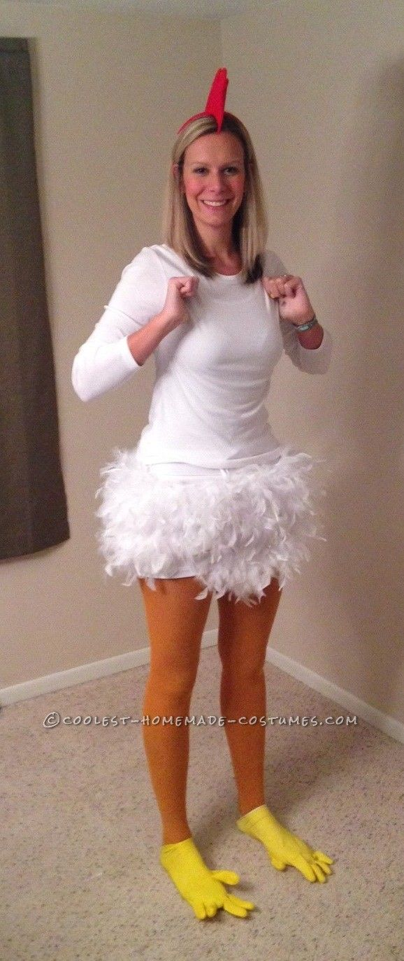Homemade chicken costume for a 6 foot woman chicken for Diy halloween costumes for adult women