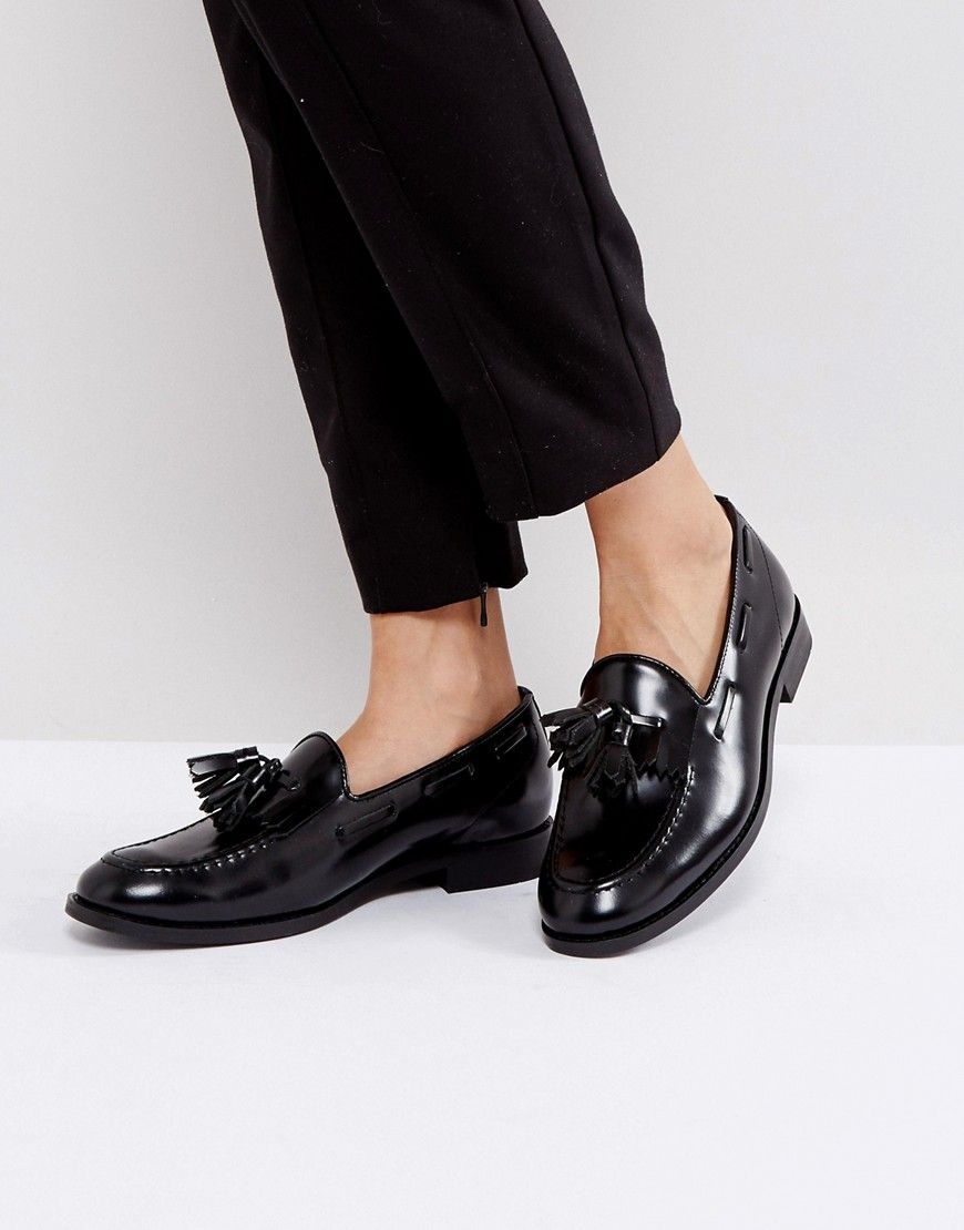 854e66cfd7bcf H By Hudson Leather Tassle Loafers | Zapatos / Shoes | Black leather ...