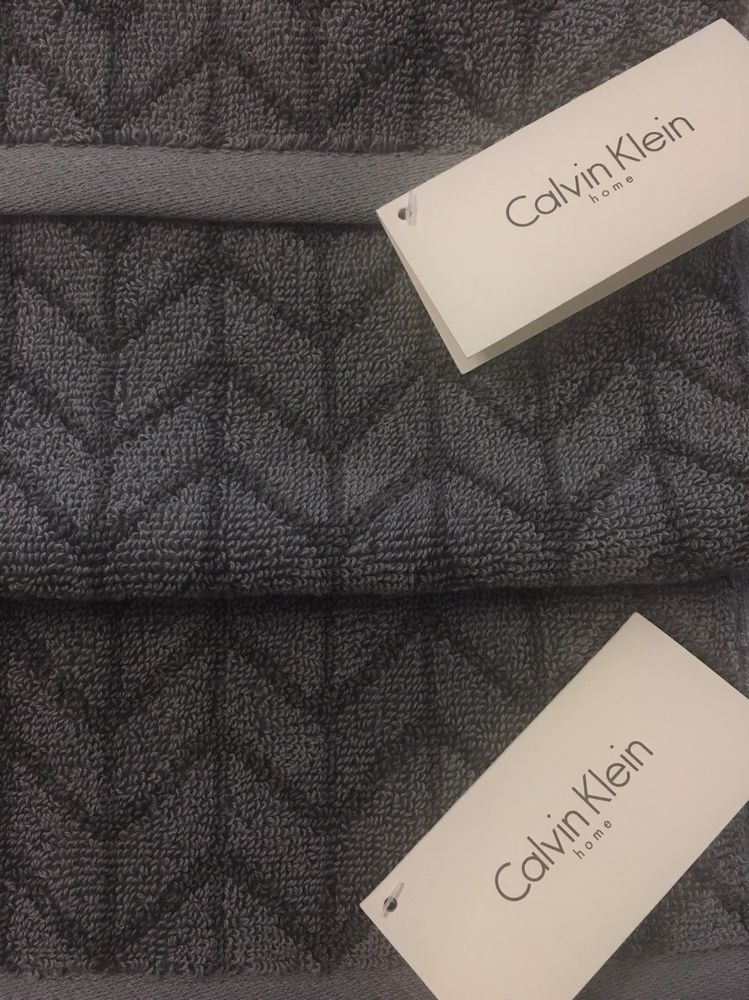 Calvin Klein Home Gray Towels Set Of 4 Reversible 100 Cotton
