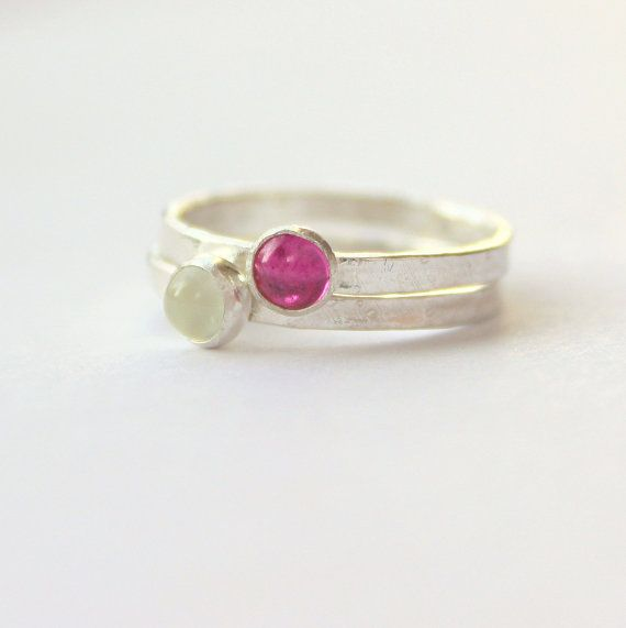 White moonstone fuchsia ruby sterling silver by littlebugjewelry, $67.00