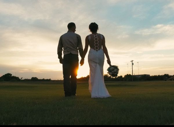 Bride and groom walking into the sunset. #weddings
