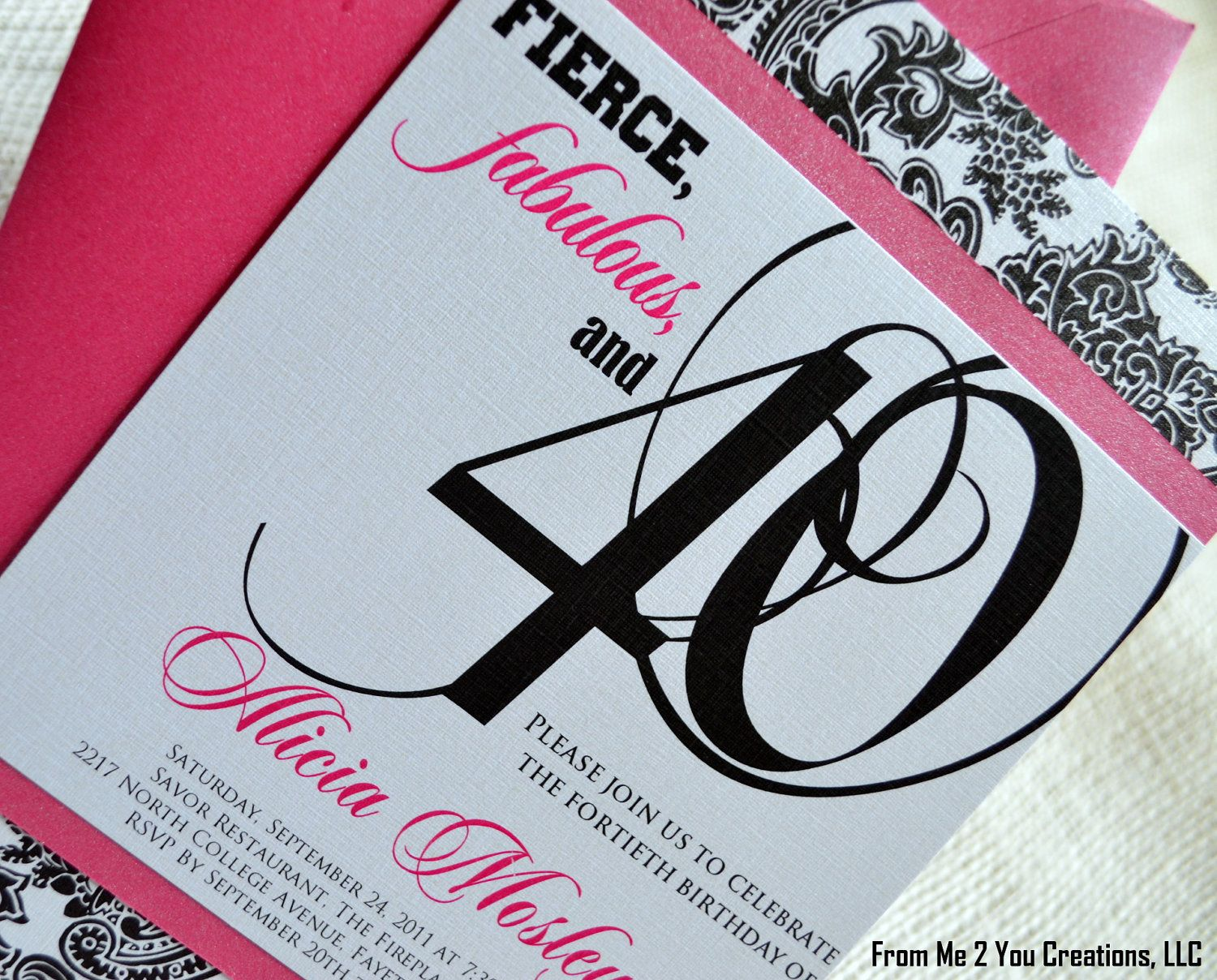 Etsy40thbirthdayinvitation pink birthday invitationcustom etsy40thbirthdayinvitation pink birthday invitationcustom pink and by fromme2youcreations monicamarmolfo Image collections