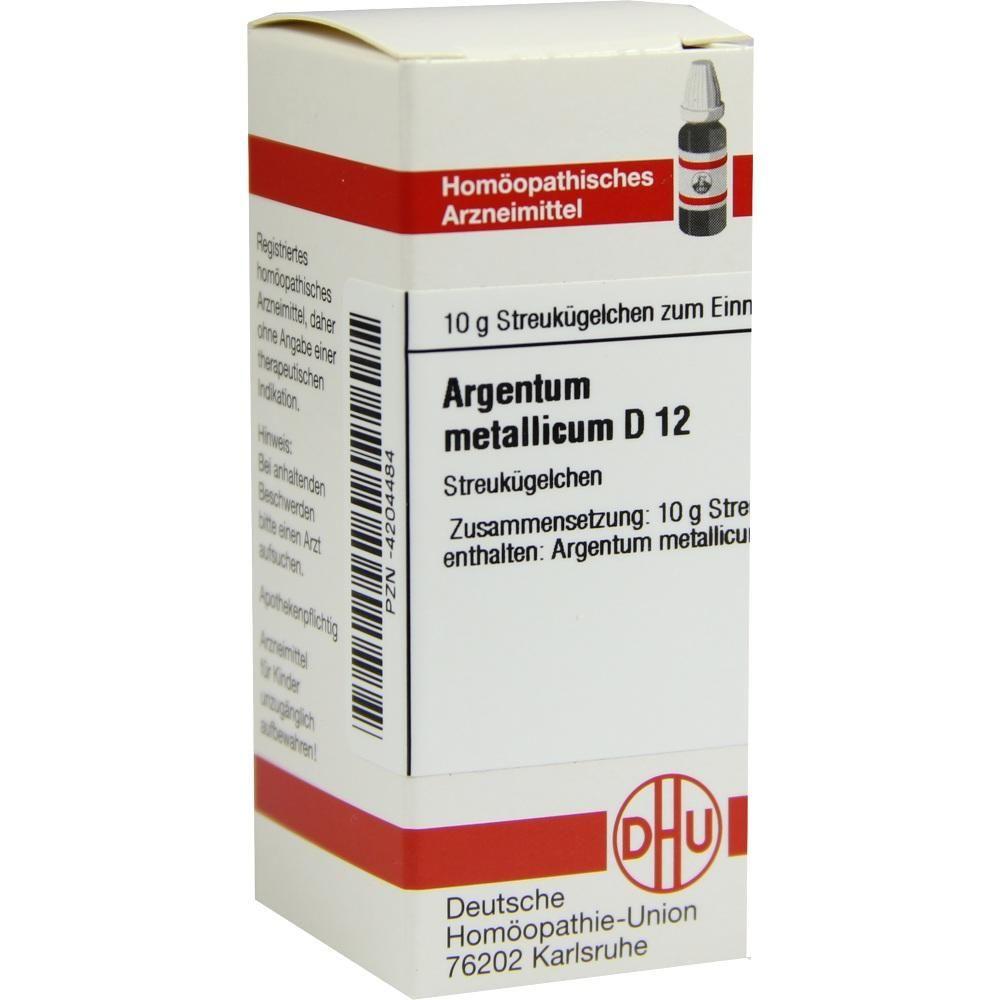ARGENTUM METALLICUM D 12 Globuli:   Packungsinhalt: 10 g Globuli PZN: 04204484 Hersteller: DHU-Arzneimittel GmbH & Co. KG Preis: 5,19 EUR…