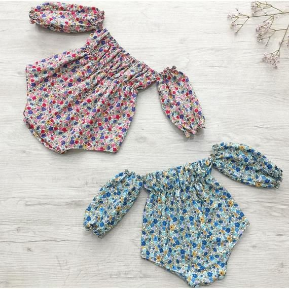 227eca60f6eb Baby girl, Long sleeve romper, bubble romper, playsuit, off the shoulder,  floral, baby girl romper,