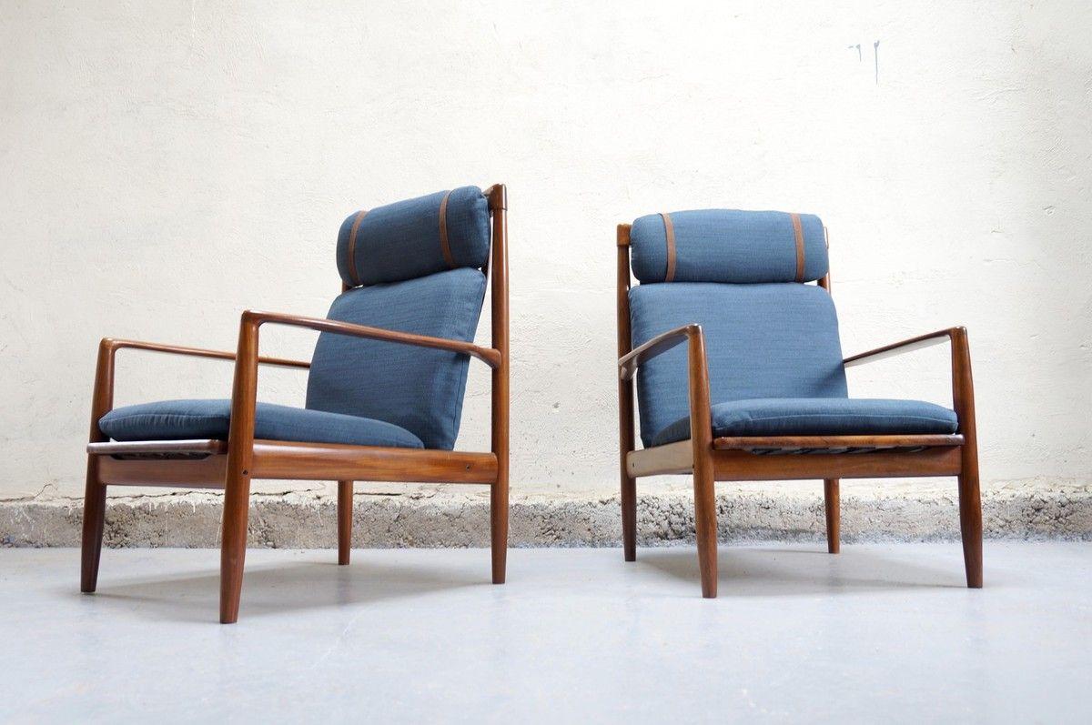 Jalk paire scandinave Fauteuil années Grete design vintage NPknwOX8Z0