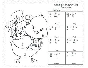 math worksheet : spring themed fraction color by number add subtract multiply  : Fraction Coloring Sheets