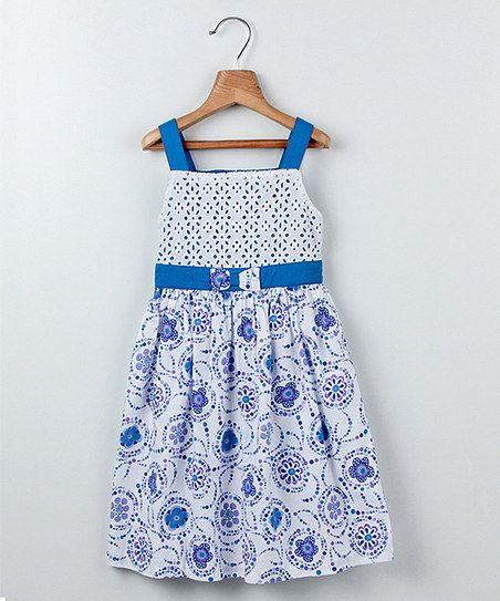 Designer Kids dresses white-blue