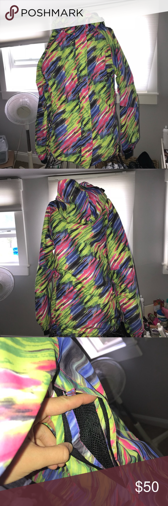 Women's Pulse Winter Coat Grey,Green/Yellow,pink,blue, white colorful winter coat! Very warm and great for snowboarding/skiing. Or just cold weather! Cozy and not too thick. Worn just a couple times. Also with airflowable zippered armpits pulse Jackets & Coats