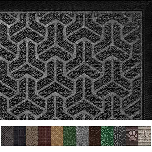 Amazon Com Gorilla Grip Original Durable Rubber Door Mat 35 X 23 Heavy Duty Doormat For Indoor Outdoor Waterproof E Rubber Door Mat Mat Rugs Grey Diamond