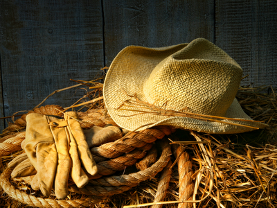gloves and straw hat