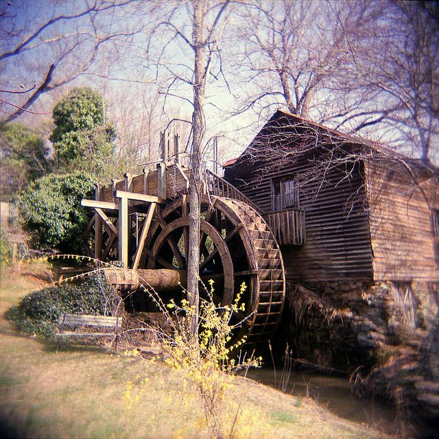 Water wheel at Johnson Mill by Anomyk, via Flickr