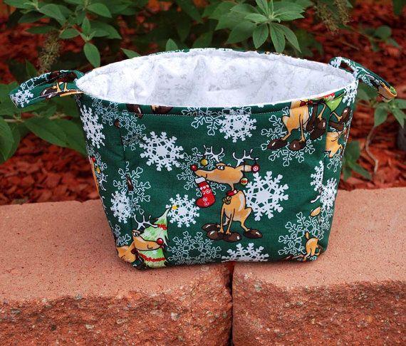 Fabric Basket Snowflakes and Reindeer by PaleMoonTreasures on Etsy, $25.00