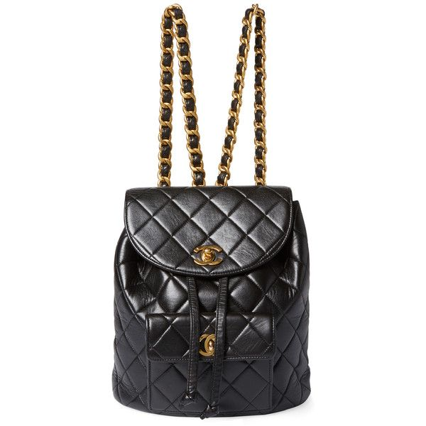 Chanel Vintage Black Quilted Lambskin Classic Backpack Medium - Black  (37345 MAD) ❤ liked on Polyvore featuring bags fb1f66a8639d8