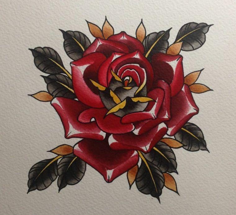 Immagine A Colore Di Una Rosa Rossa Con Dei Punti Luce E Foglie
