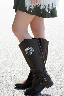 Monogrammed Riding Boots are an essential piece to you fall/winter wardrobe! Shop Monogrammed Footwear now on www.shopmemento.com!