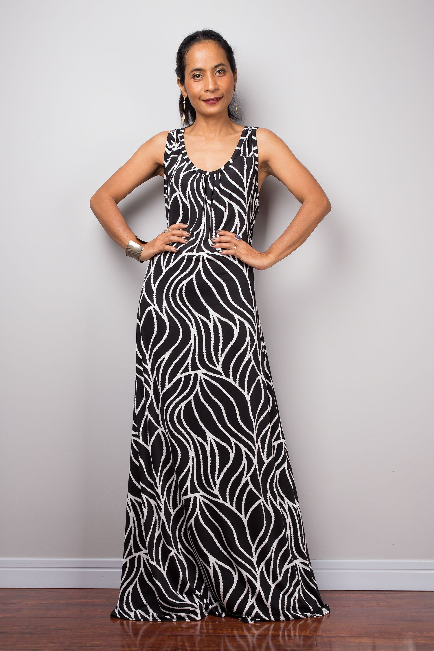 Black And White Sleeveless Tank Top Maxi Dress Loose Fit Evening