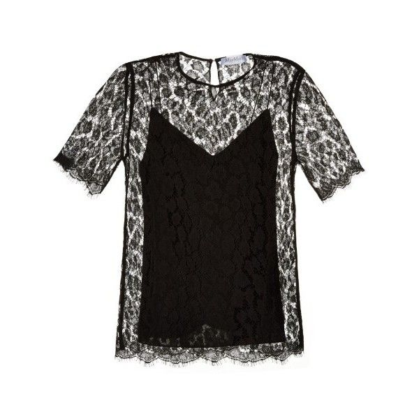 Max Mara Haven top (1.475 BRL) ❤ liked on Polyvore featuring tops, black, sheer top, holiday tops, see through tops, floral print top and sheer black top