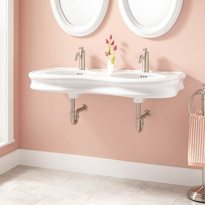 46 Adler Double Bowl Wall Mount Bathroom Sink