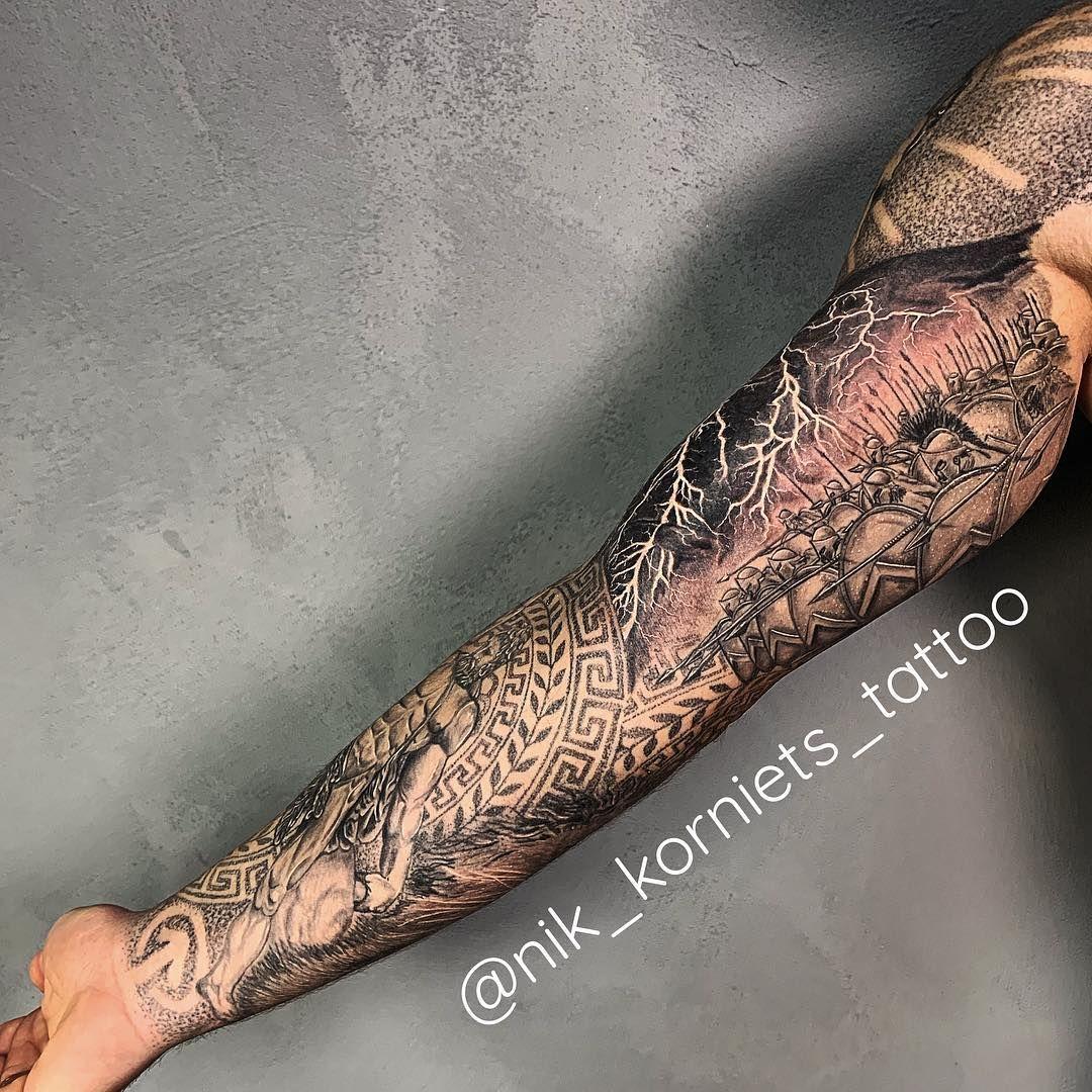 Tattoo Tattoosleeve Greece Mythology Mytologytattoo God Zeus Poseidon Realism Blackandwhite Blackandgrey Inked T Sleeve Tattoos Tattoos Hand Henna