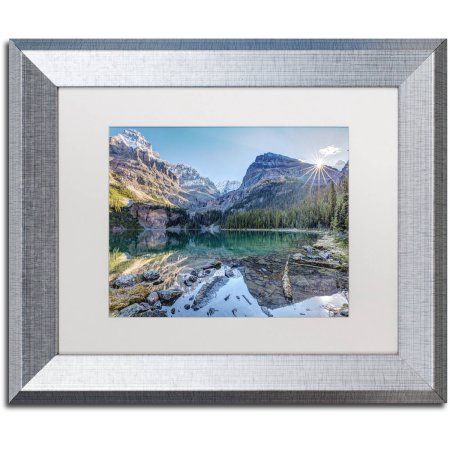 Trademark Fine Art 'Majestic Lake O'Hara' Canvas Art by Pierre Leclerc, White Matte, Silver Frame, Size: 11 x 14, Assorted