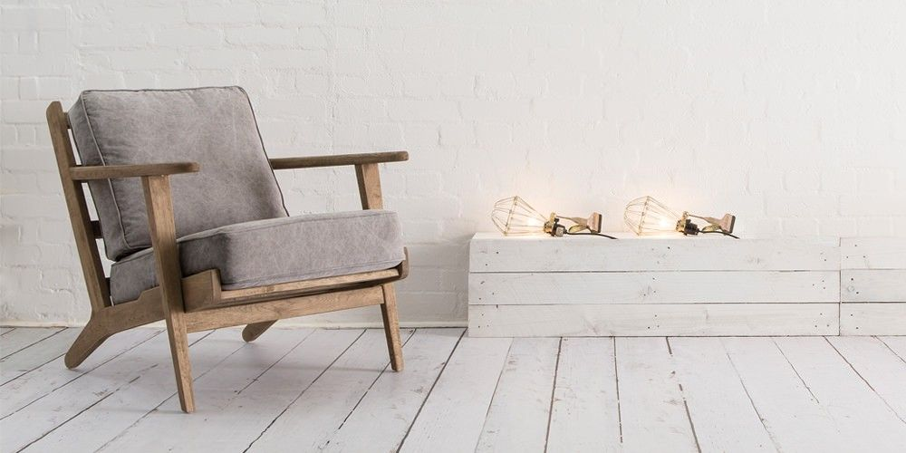 Charmant Swoon Editions Armchair, Scandinavian Style In Stonewashed Grey Canvas U2014