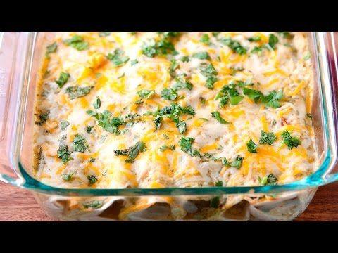 Easy Salsa Verde Chicken Enchiladas Recipe - How to Make Chicken Enchiladas - YouTube