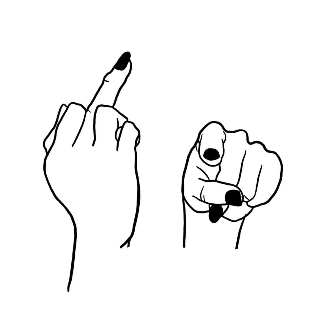 For your two faces. fuck, you, fingers, hands, rude finger, rude finger, nails, tattoo illustration, art, artist, illustrate, illustrator, danni simps…