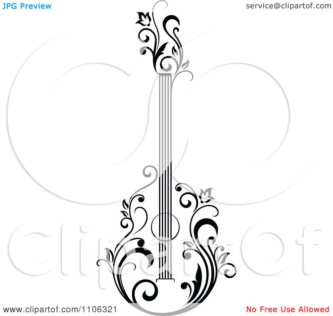 Clipart Black And White Floral Guitar 1 Royalty Free Vector Illustration By Seamartini Graphics 11 Free Vector Illustration Clipart Black And White Clip Art